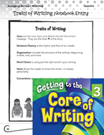 Writing Lesson Level 3 - Organizing the Writer's Notebook