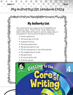 Writing Lesson Level 4 - Writing Ideas with an Authority List