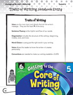 Writing Lesson Level 5 - Organizing the Writer's Notebook