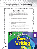 Writing Lesson Level 6 - My Top Ten Ideas