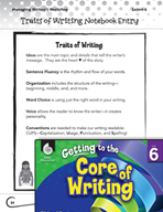 Writing Lesson Level 6 - Organizing the Writer's Notebook
