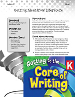 Writing Lesson Level K - Getting Ideas from Literature