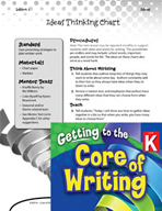 Writing Lesson Level K - Ideas Thinking Chart