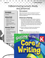 Writing Lesson Level K - Letters, Words, and Sentences
