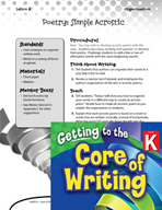 Writing Lesson Level K - Simple Acrostic