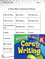 Writing Lesson Level K - Using Sentence Stems
