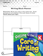 Writing Lesson Level K - Writing Block Planner
