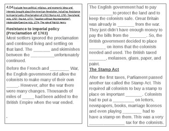 TN 4.23 Causes of American Revolution, Stamp Act, Proclamation of 1763