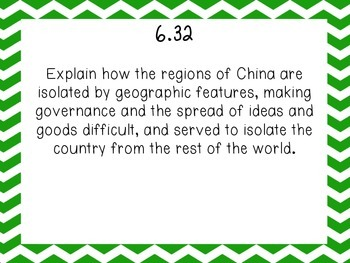 TN 6th grade world history standards part 5- China