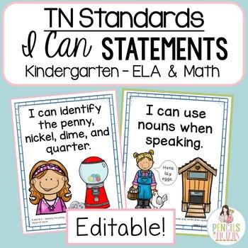 TN Academic Standards Kindergarten ELA & Math I Can Statements