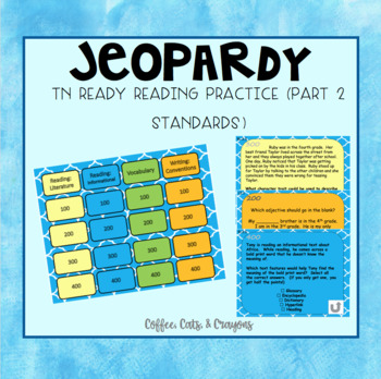 TN Ready ELA Jeopardy Review Game *editable*
