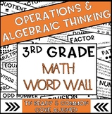 3rd Grade Math Word Wall Operations and Algebraic Thinking  | TN Ready & CC