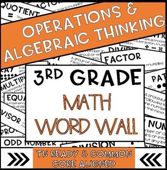 3rd Grade Math Word Wall Operations and Algebraic Thinking  | TN Ready & CC