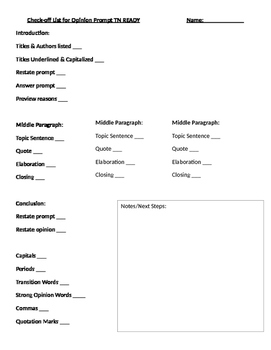 TN Ready Opinion Writing Check List