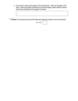 TN Ready Style Questions Math 2nd grade 2-digit subtraction