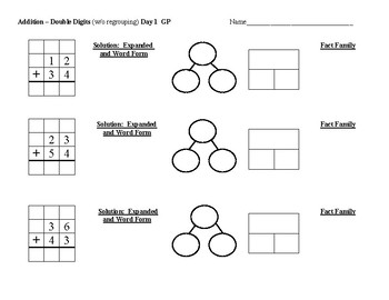 TN Ready Third Grade Addition-Double Digit Group/Independent Work and Homework