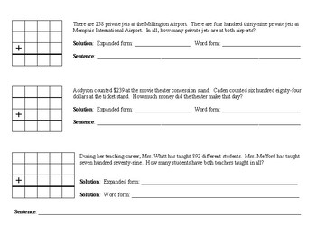 TN Ready Third Grade Addition-Triple Digit Group/Independent Work and Homework