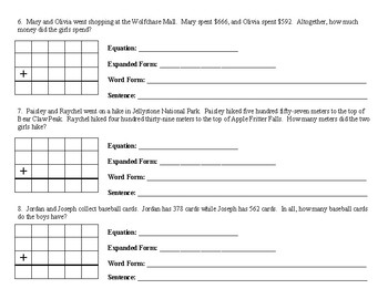 TN Ready Third Grade Addition-Word Problems with Enrichment