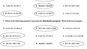TN SPI 0606.1.4 Properties Worksheet Practice