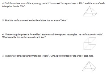 TN SPI 5.4.4 Surface Area Worksheet