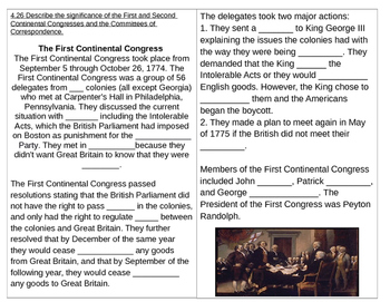 TN SS 4.26 First and Second Continental Congresses, Committees of Correspondence