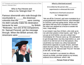 TN SS 4.27 Paul Revere's Midnight Ride: First and Second hand accounts