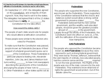 TN SS 4.40 Ratification of Constitution, Bill of Rights, Federalists
