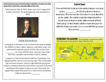 TN SS 4.55 Andrew Jackson's presidency, Indian Removal Act