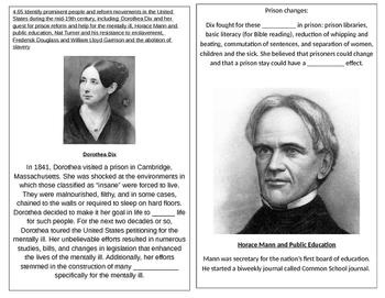 TN SS 4.65 Dorothea Dix, Nat Turner, Frederick Douglass, William Garrison
