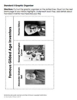 TN SS Standard 5.05 Graphic Organizer: Gilded Age Inventors (Bell/Carver/Edison)