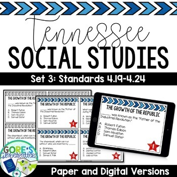 Tennessee Social Studies 4th Grade Task Cards Set 3
