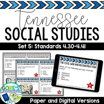 Tennessee Social Studies 4th Grade Task Cards Set 5
