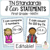 TN Standards I Can Statements First Grade Math