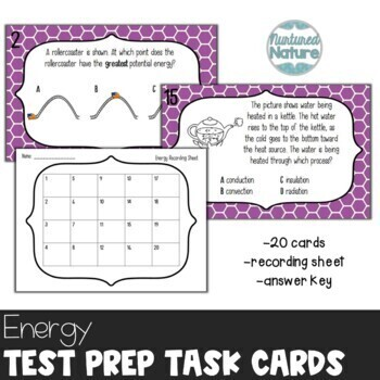 TN TCAP Prep 5th Grade Science Task Cards ~ Energy