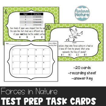 TN TCAP Prep 5th Grade Science Task Cards ~ Forces in Nature (Gravity)