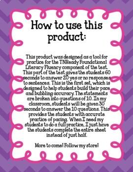 TNReady 3rd 4th Grade Reading Fluency Practice Test Prep