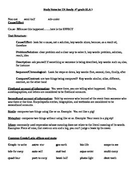 TNReady 4th grade ELA Study Guide