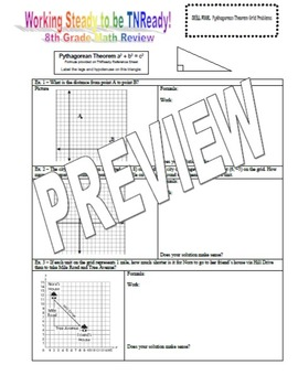 TNReady 8th Grade Math - Pythagorean Theorem Grid Coordinate Plane 8.G.B.8