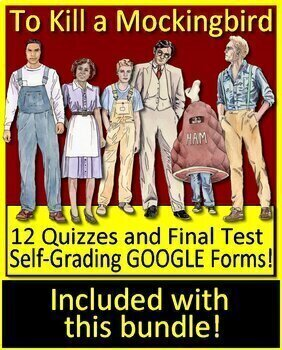 To Kill a Mockingbird Novel Study Print + Google Paperless w/ Self-Grading Tests