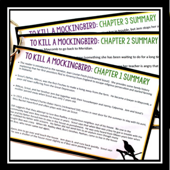 TO KILL A MOCKINGBIRD: CHAPTER SUMMARY CARDS