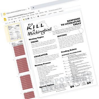 TO KILL A MOCKINGBIRD Essay Prompts and Speech (Created for Digital)