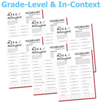 TO KILL A MOCKINGBIRD Vocabulary Complete Novel (180 words)