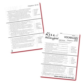TO KILL A MOCKINGBIRD Vocabulary List and Quiz (chap 18-23)