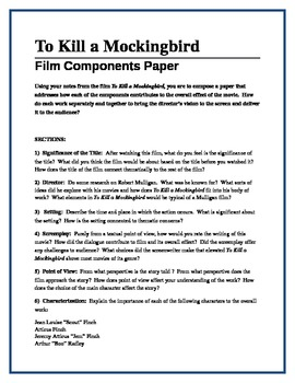 TO KILL A MOCKINGBIRD - film components paper