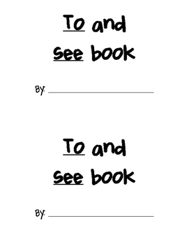 TO/SEE Sight Word Practice Book