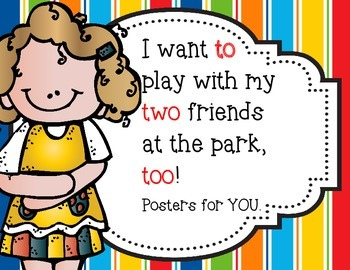 TO, TWO, TOO {freebie} Posters