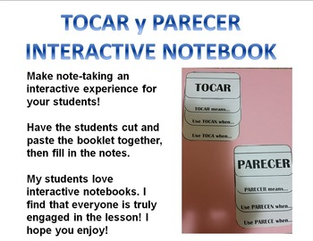 TOCAR y PARECER interactive notebook