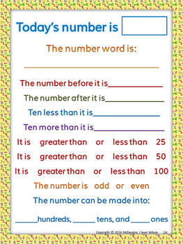 Today's Number of the Day Number Sense Activities and Worksheets