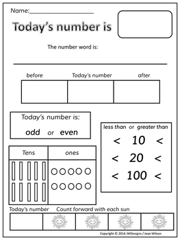 Number of the Day (worksheet collection) | Squarehead Teachers