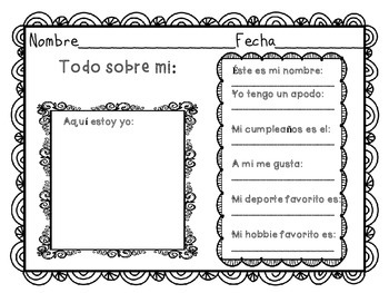 """""""TODO SOBRE MI.""""  BACK TO SCHOOL. PRINTABLES EN ESPAÑOL."""